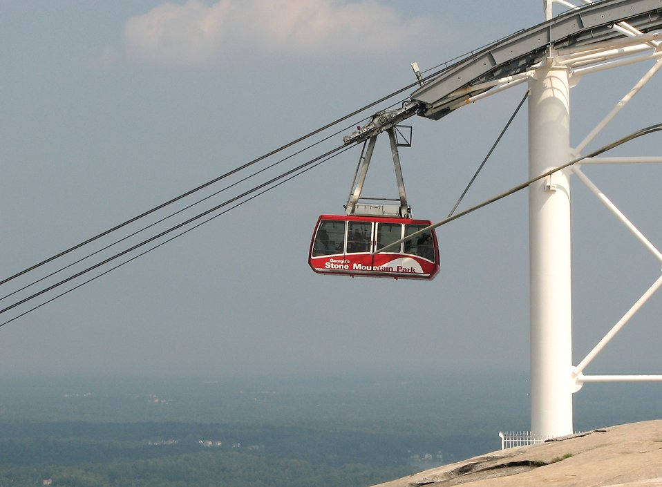 Cable car descending Stone Mountain : Free Stock Photo
