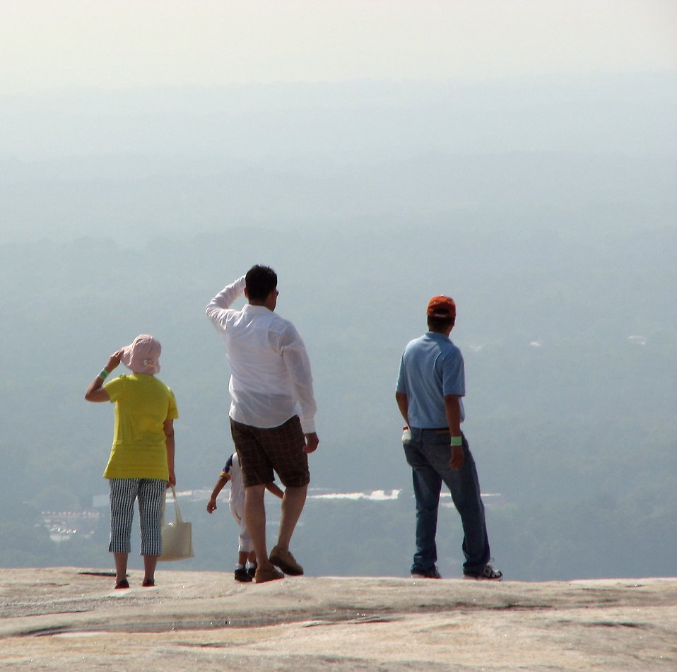 Tourists viewing from the top of Stone Mountain : Free Stock Photo