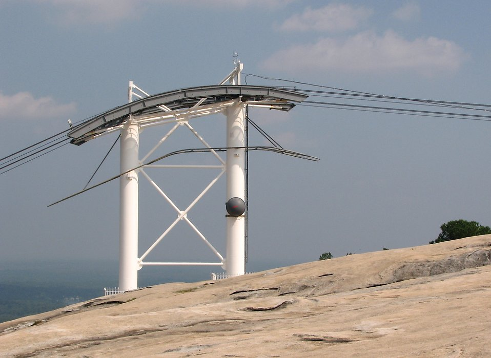 Cable car tower on top of Stone Mountain : Free Stock Photo