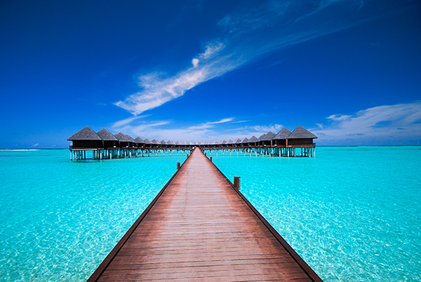 A bridge leading to water bungalows on the ocean : Free Stock Photo