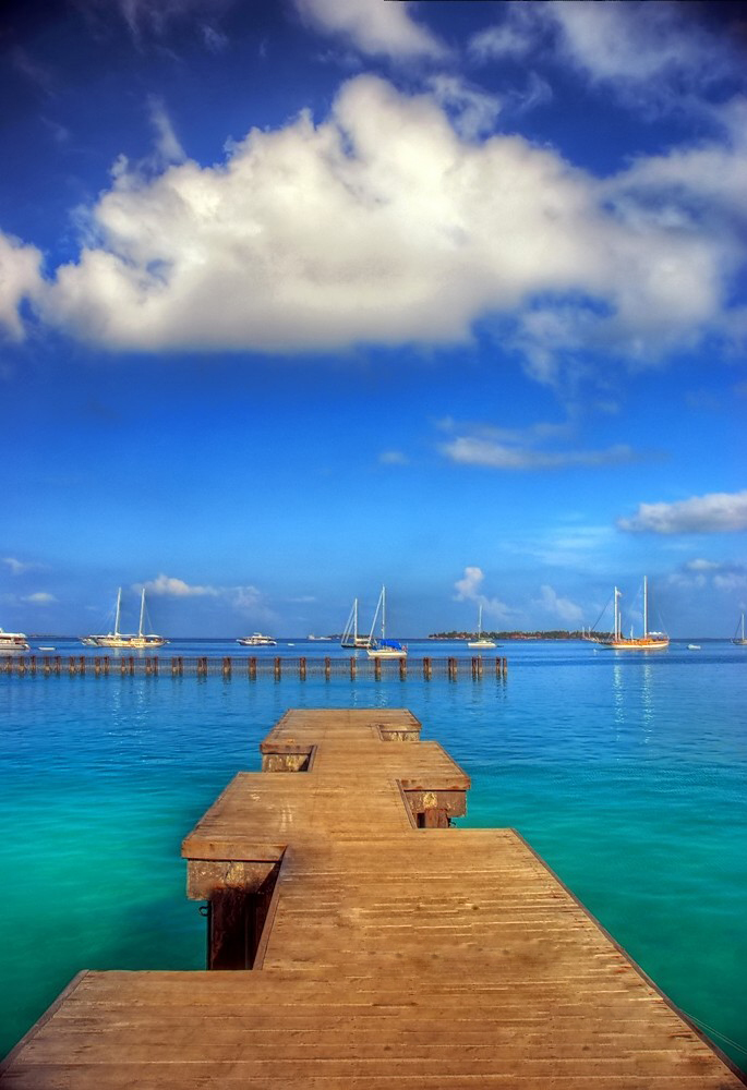 View from a wooden pier overlooking sailboats in the ocean : Free Stock Photo
