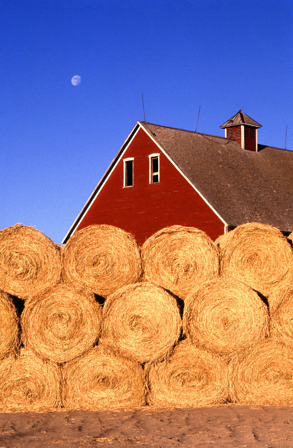 Bales of hay stacked outside a barn : Free Stock Photo