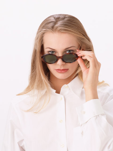 A beautiful blonde with sunglasses isolated on a white background : Free Stock Photo