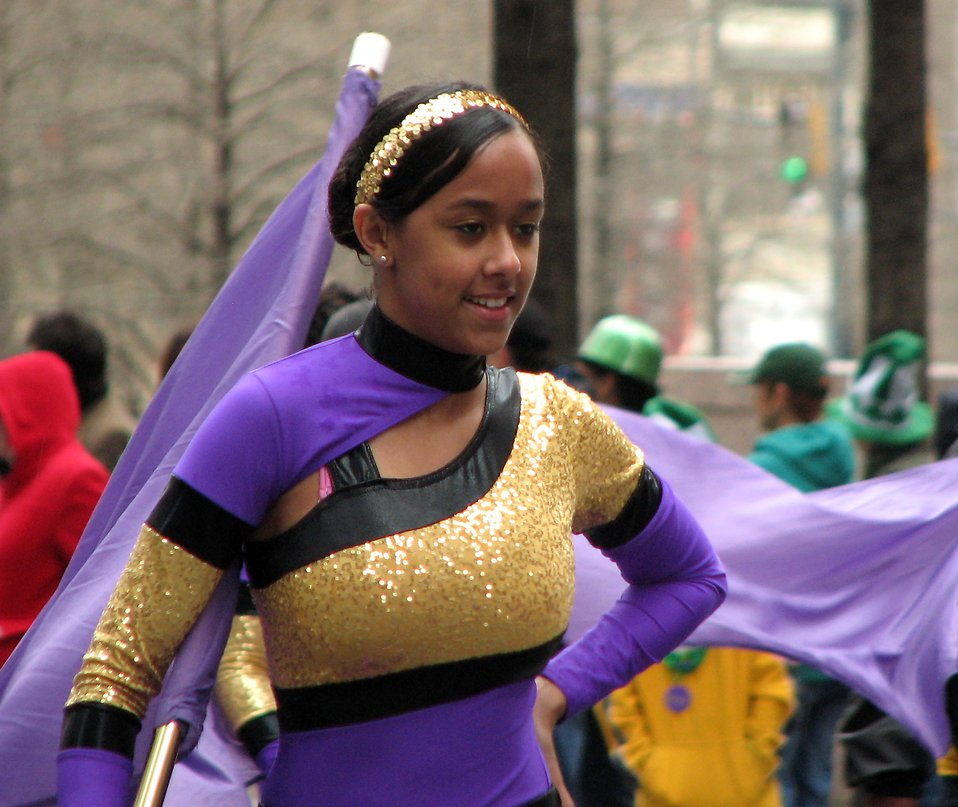 A beautiful girl in a marching band in the 2010 Atlanta Saint Patrick's Day Parade : Free Stock Photo