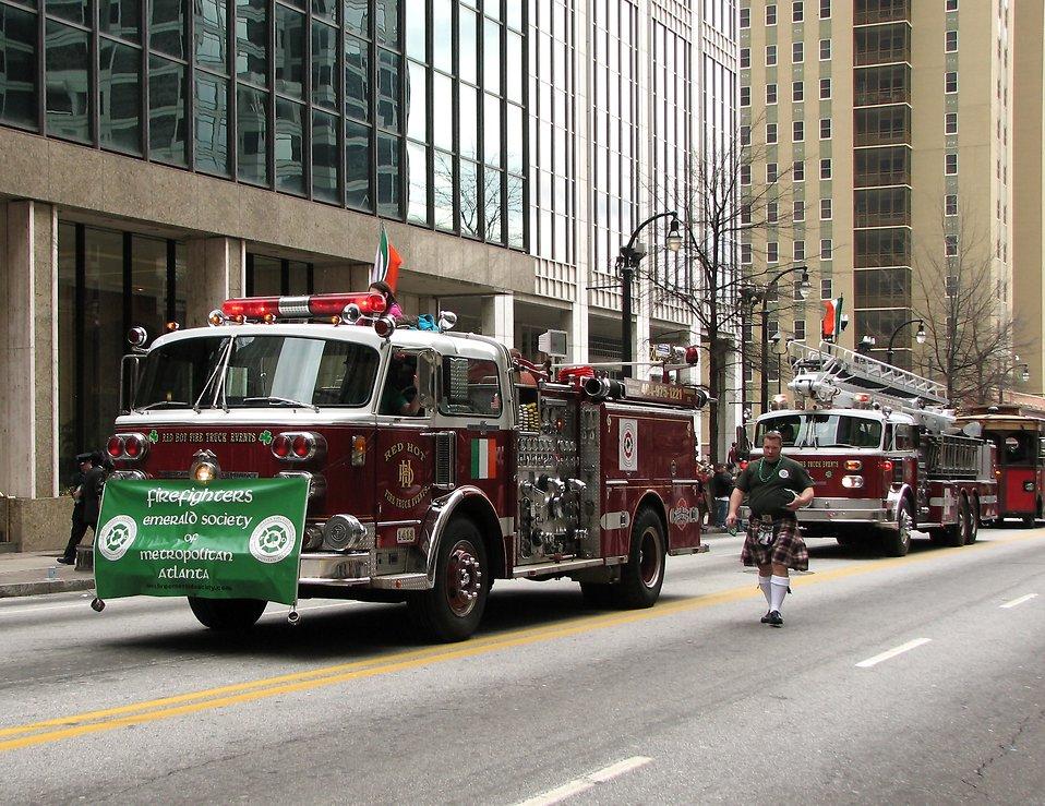 Firetrucks in the 2010 Atlanta Saint Patrick's Day Parade : Free Stock Photo