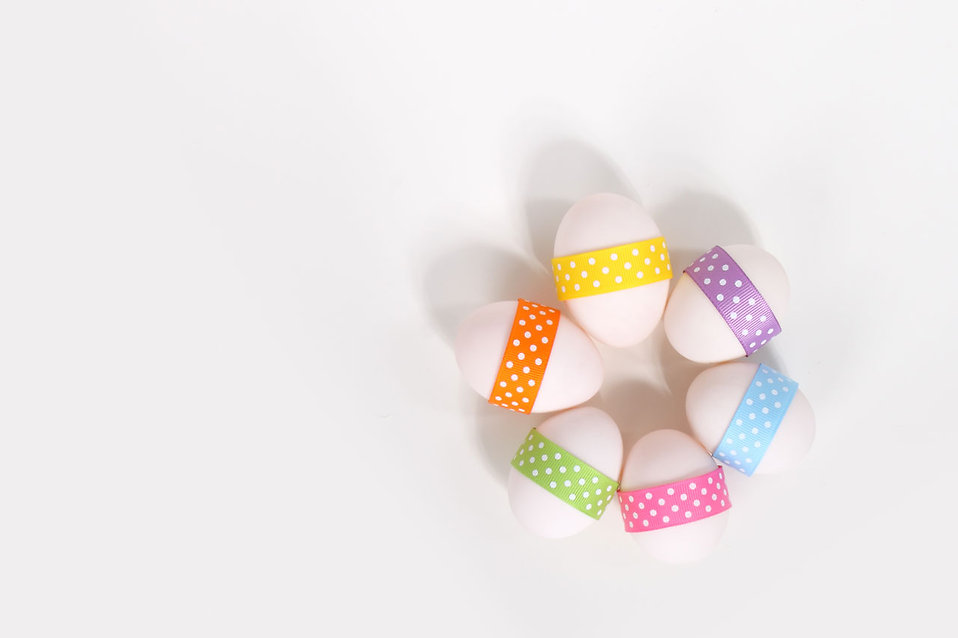 Six Easter eggs with ribbons isolated on a white background : Free Stock Photo