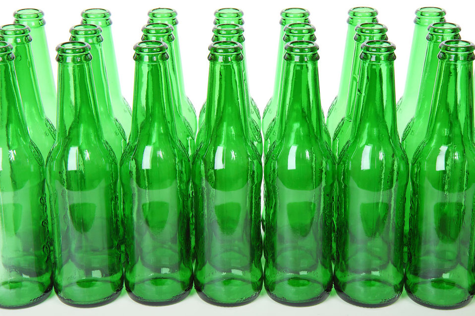 Empty green beer bottles isolated on a white background : Free Stock Photo