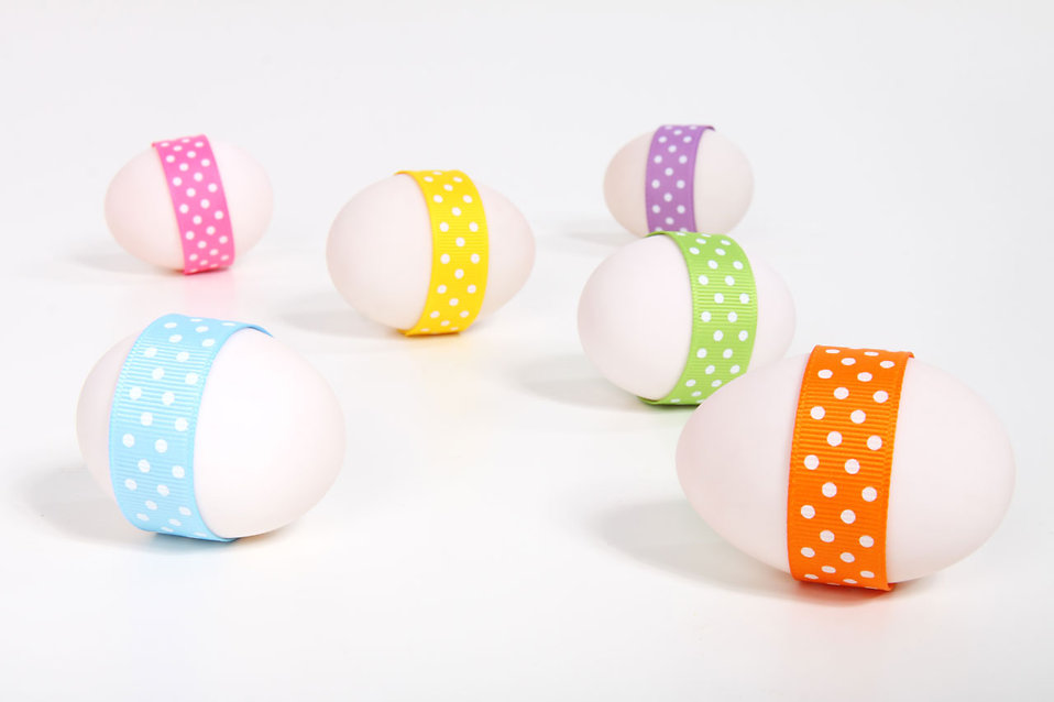 Easter eggs with ribbons isolated on a white background : Free Stock Photo