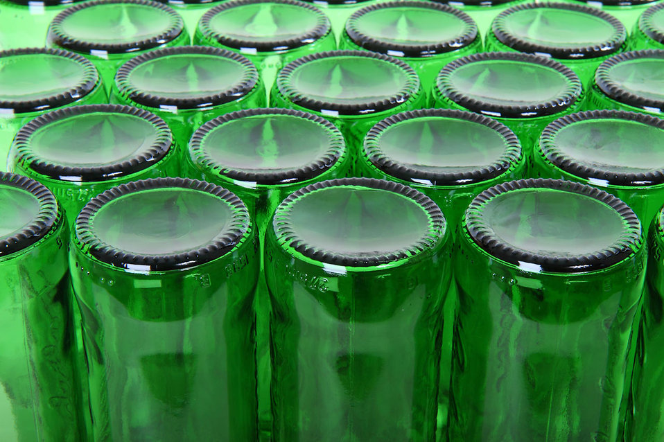 Empty green beer bottles : Free Stock Photo