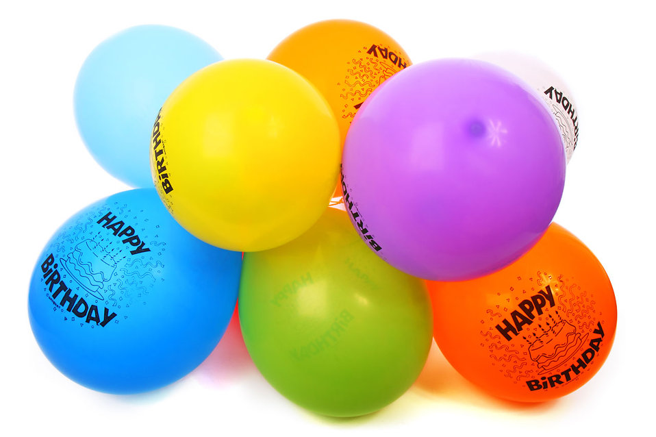 Colorful birthday balloons isolated on a white background : Free Stock Photo