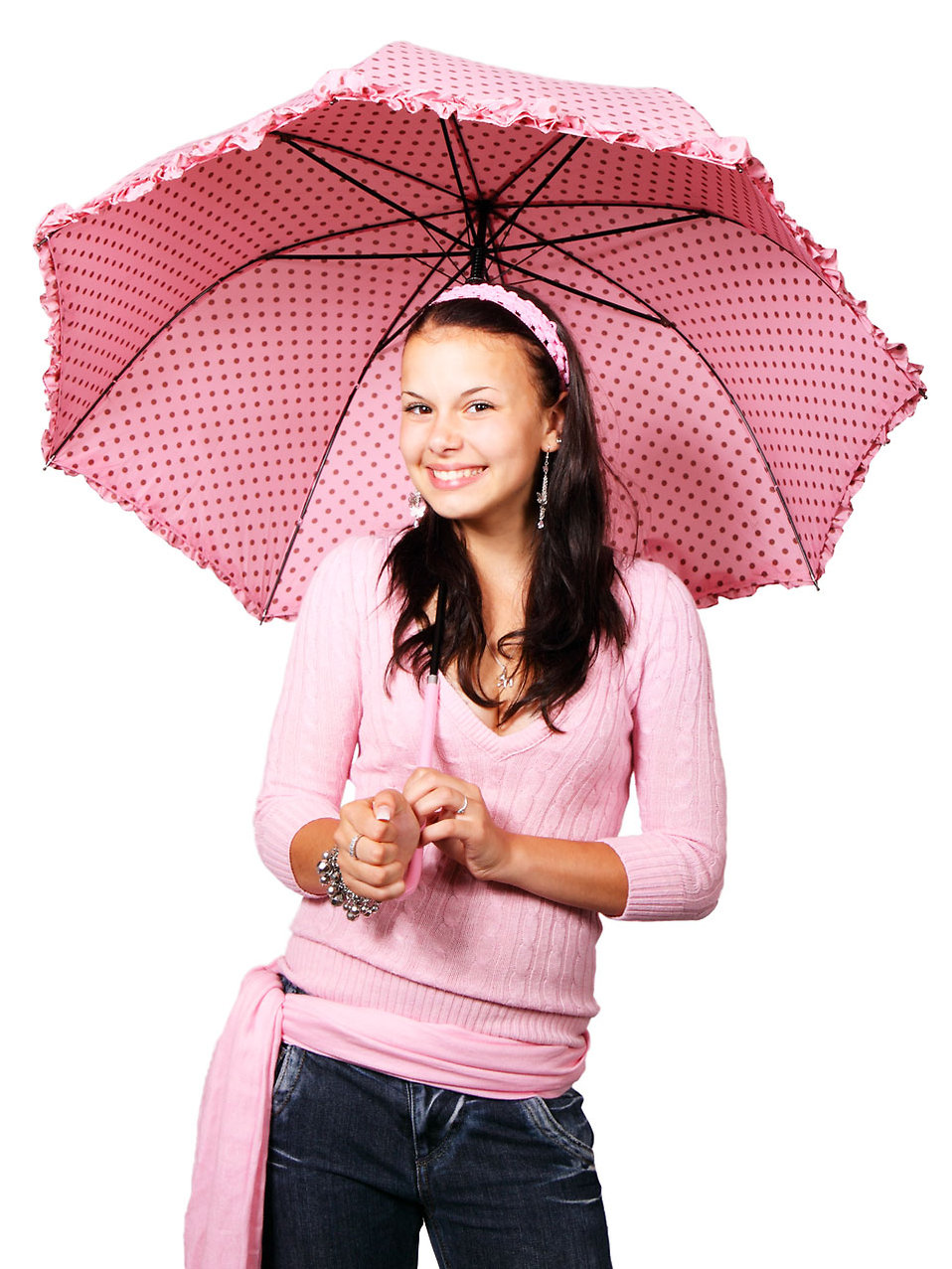 A beautiful girl with a pink umbrella : Free Stock Photo