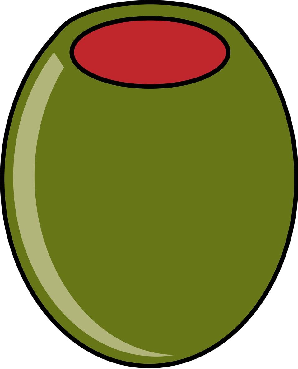 Illustration of a green olive isolated on a white background.