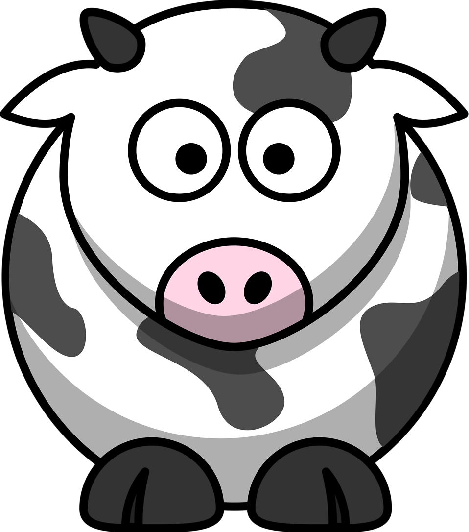 Illustration of a cartoon cow : Free Stock Photo