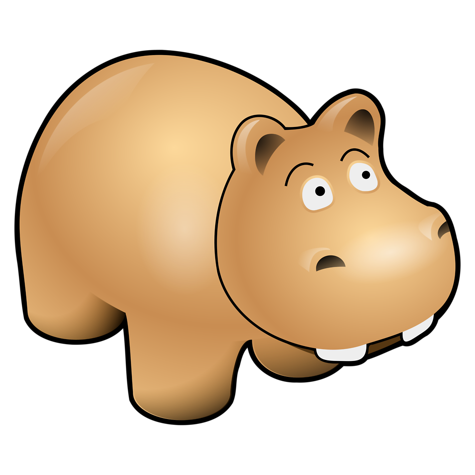 Illustration of a cartoon hippo : Free Stock Photo