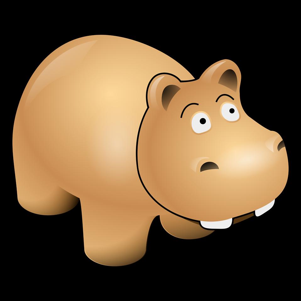 Illustration of a cartoon hippo : Free Stock Photo