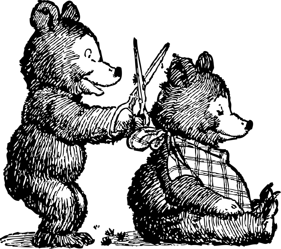 Illustration of cartoon bears giving a haircut : Free Stock Photo