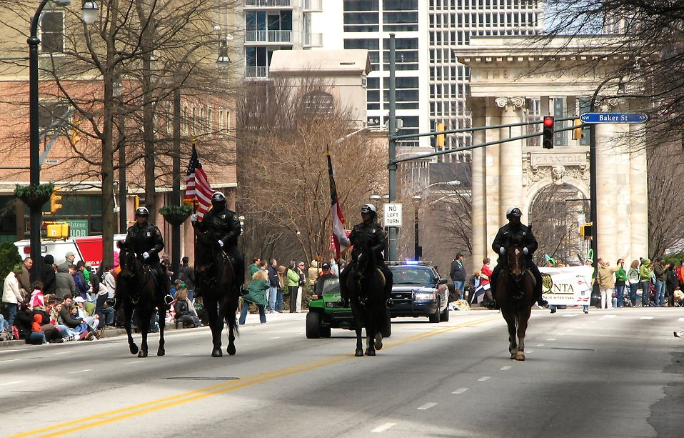Mounted police officers on horses in the 2010 Saint Patricks Day Parade in Atlanta, Georgia : Free Stock Photo