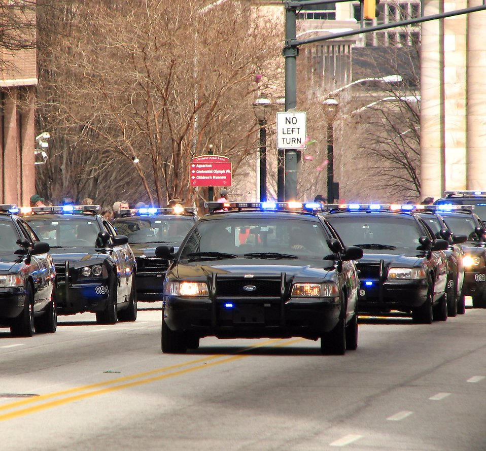 Police cars in the 2010 Saint Patricks Day Parade in Atlanta, Georgia : Free Stock Photo