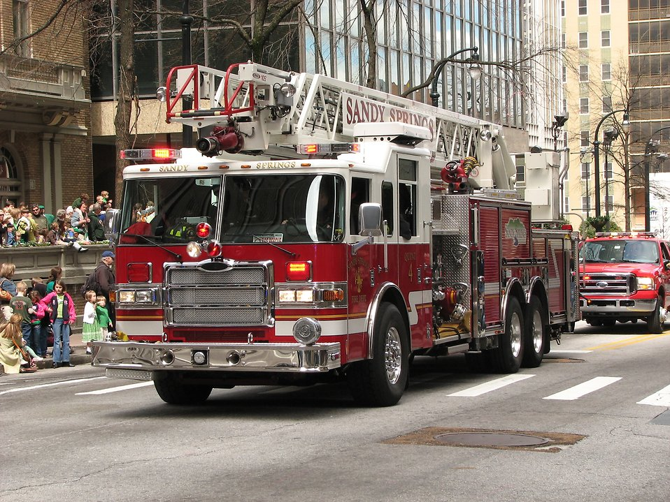 A firetruck in the 2010 Saint Patricks Day Parade in Atlanta, Georgia : Free Stock Photo