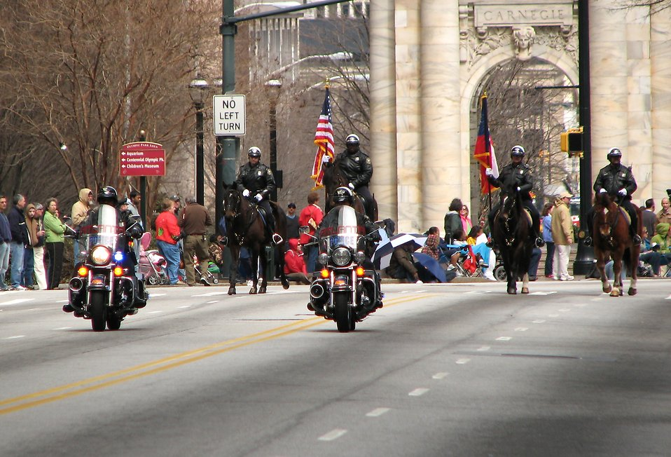 Police officers on motorcycles and horses in the 2010 Saint Patricks Day Parade in Atlanta, Georgia : Free Stock Photo