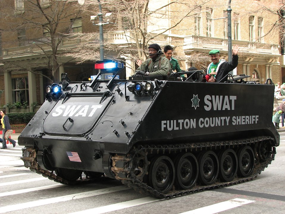 An armored SWAT vehicle in the 2010 Saint Patricks Day Parade in Atlanta, Georgia : Free Stock Photo