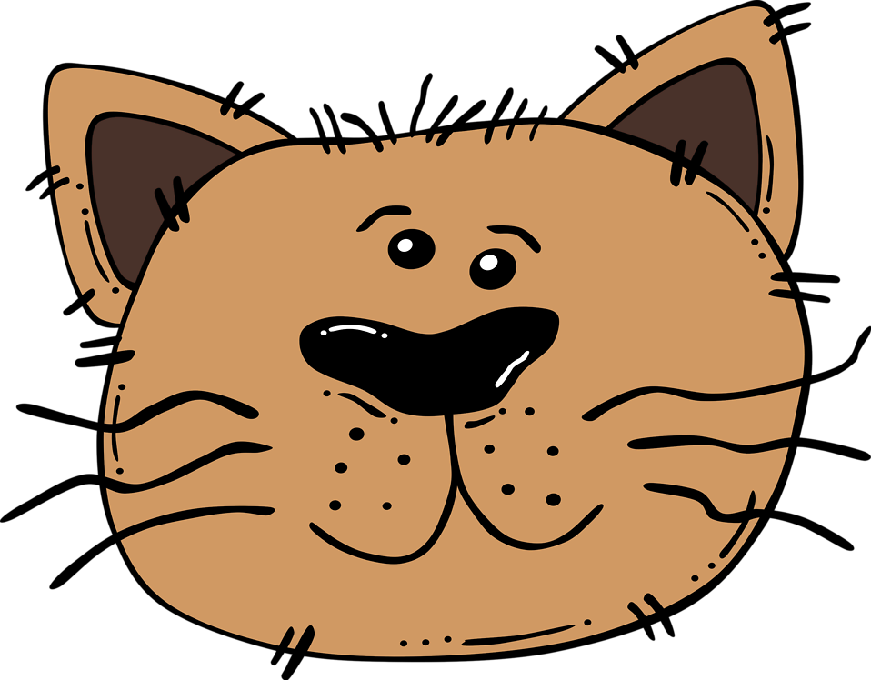 Illustration of a cartoon cat face : Free Stock Photo