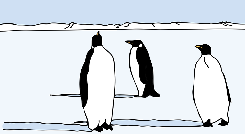 Illustration of penguins in the snow : Free Stock Photo