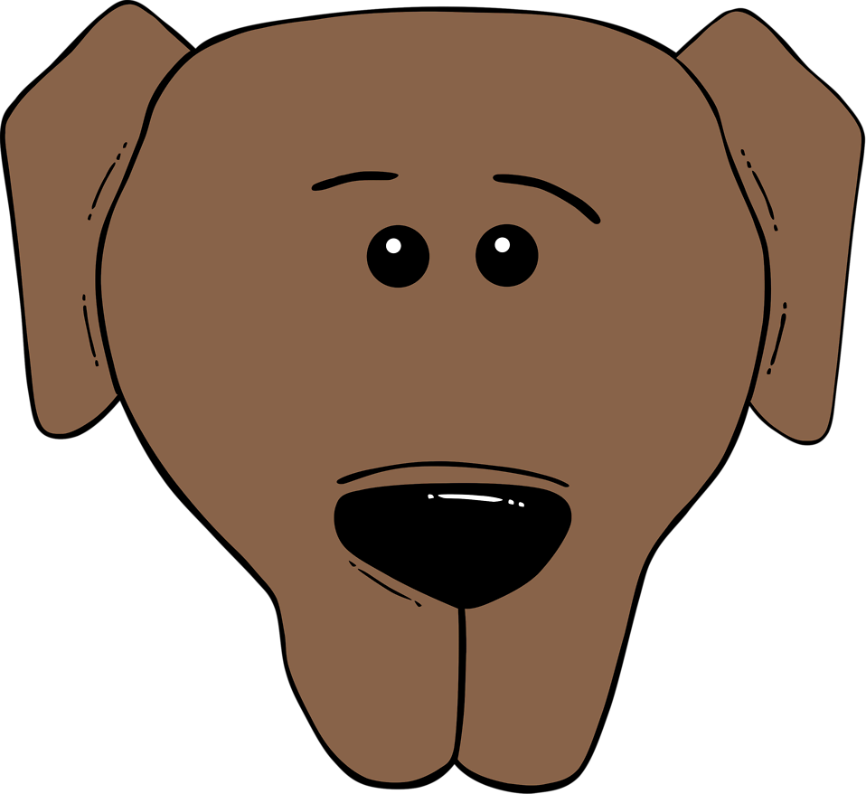 Illustration of a cartoon dog face. : Free Stock Photos