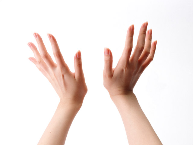 A pair of hands isolated on a white background.