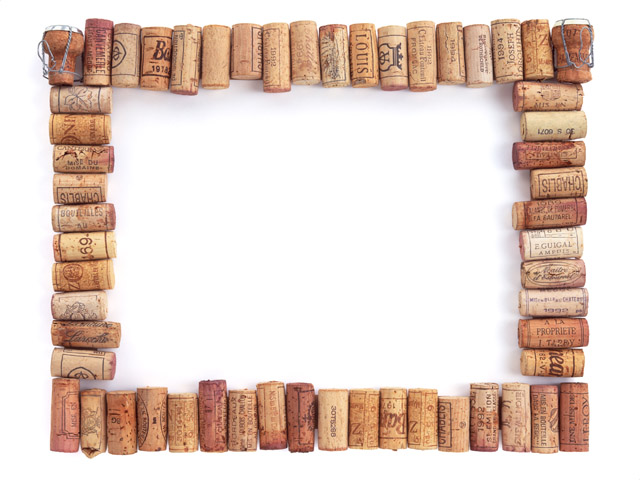 A blank picture frame made of corks.