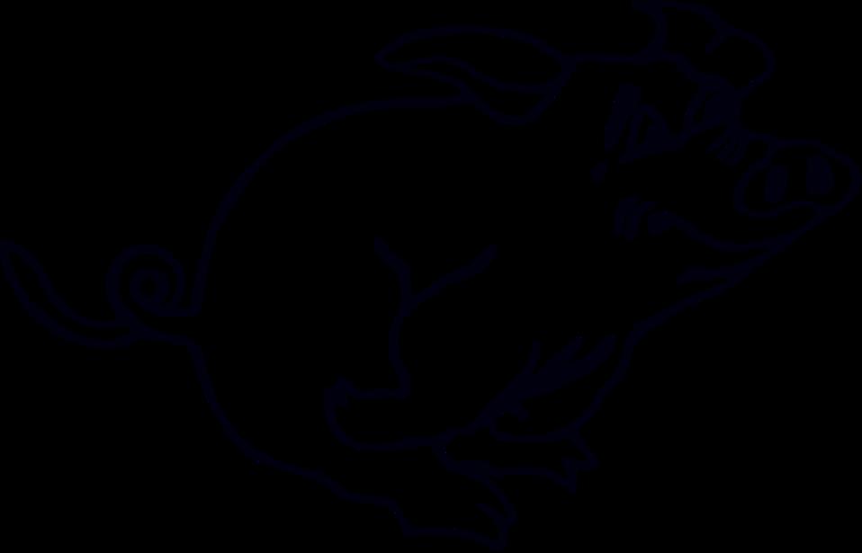 Illustration of a running cartoon pig : Free Stock Photo