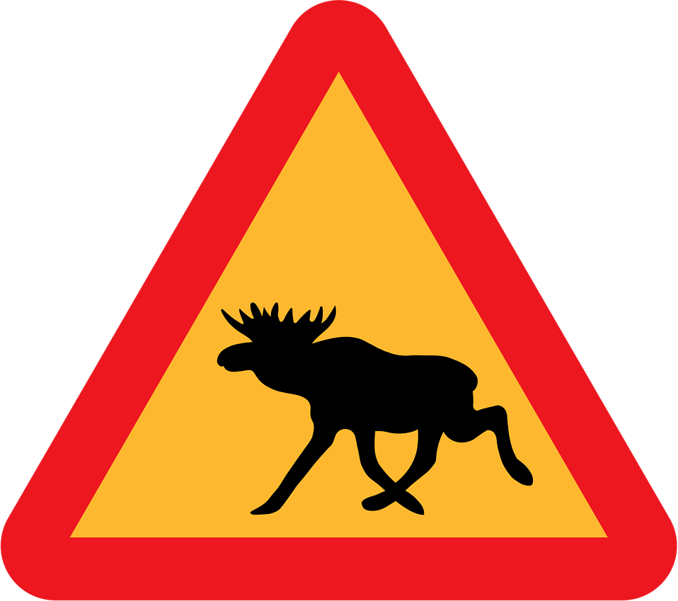 Illustration of a moose crossing warning sign : Free Stock Photo