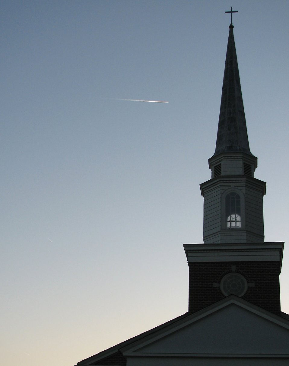 A church silhouette during sunset.