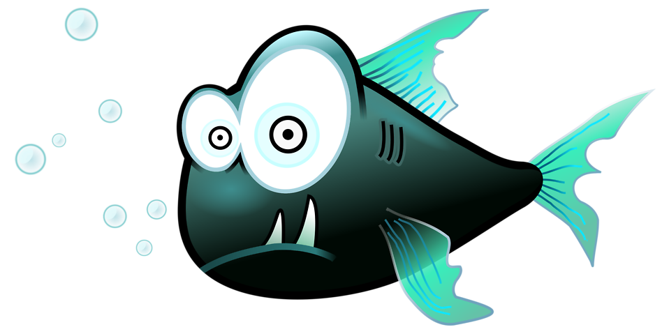 Illustration of a cartoon piranha fish : Free Stock Photo