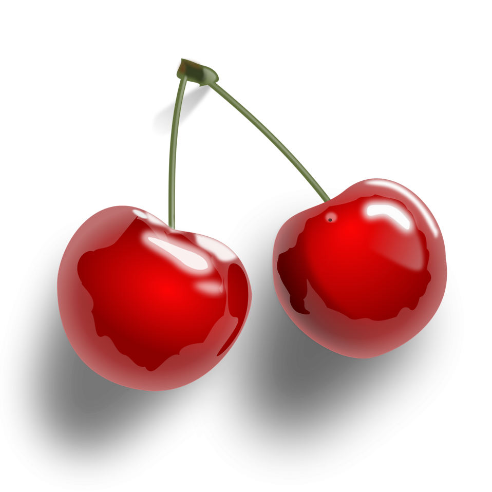 Illustration of cherries on a transparent background : Free Stock Photo