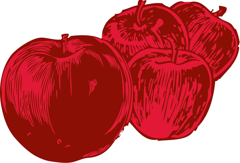 Illustration of four red apples : Free Stock Photo