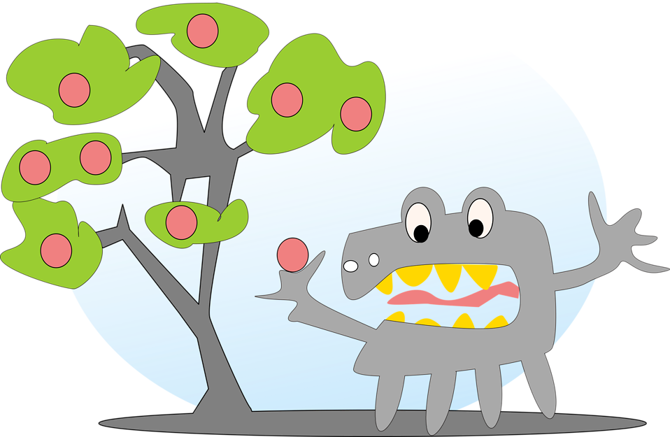 Illustration of an apple tree with a monster : Free Stock Photo