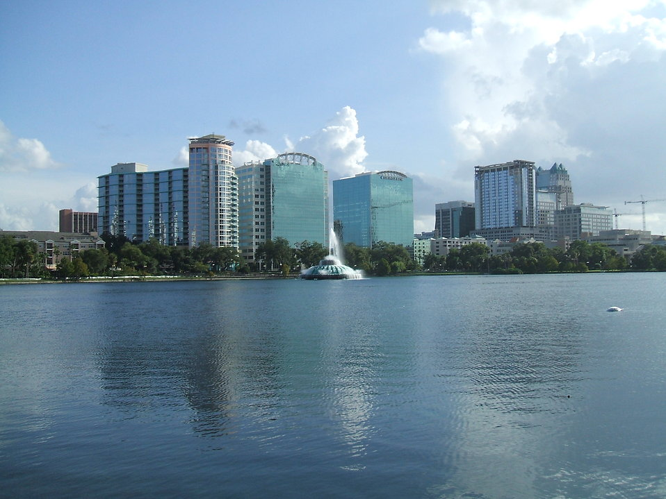 Orlando Florida cityscape viewed from the water.