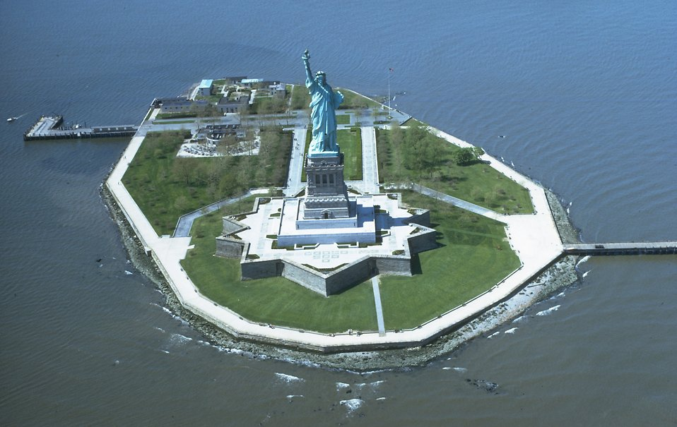 Aerial view of the Statue of Liberty monument on Liberty Island : Free Stock Photo