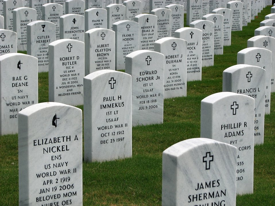 Gravestones in a row at the Georgia National Cemetery : Free Stock Photo
