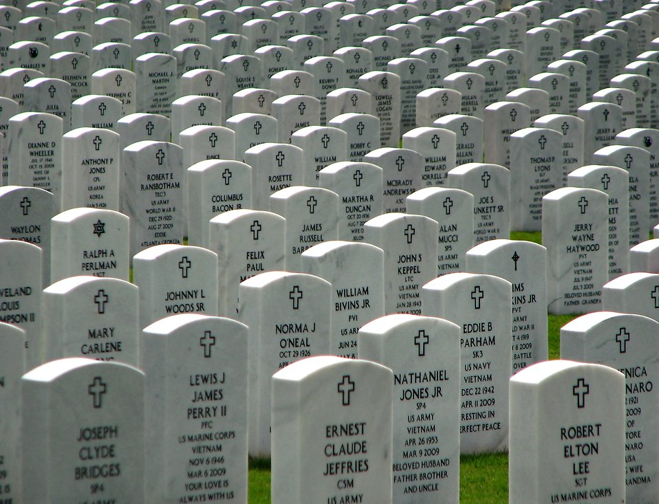 Rows of gravestones at the Georgia National Cemetery : Free Stock Photo