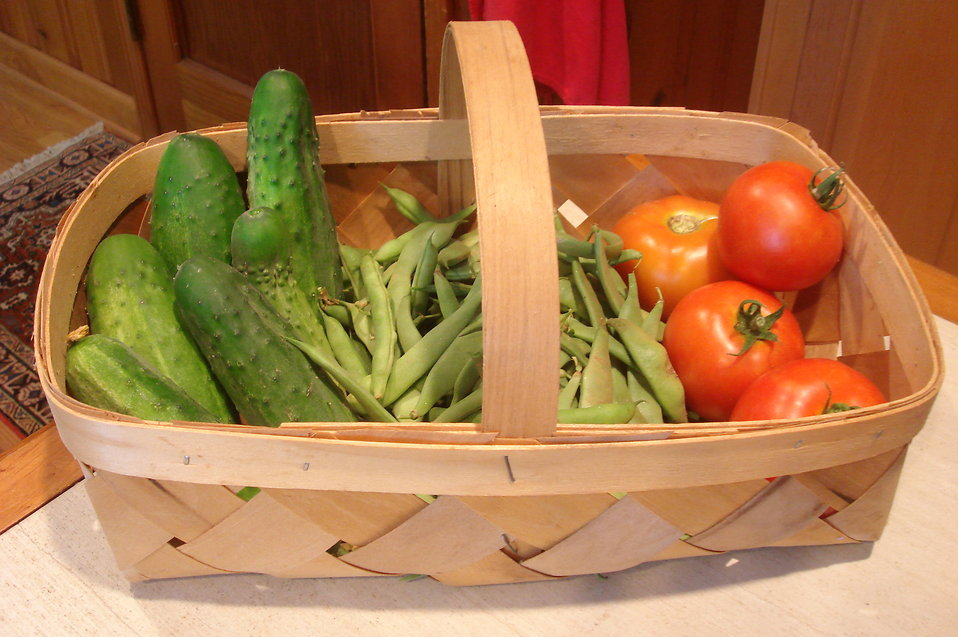 A basket of fruits and vegetables : Free Stock Photo