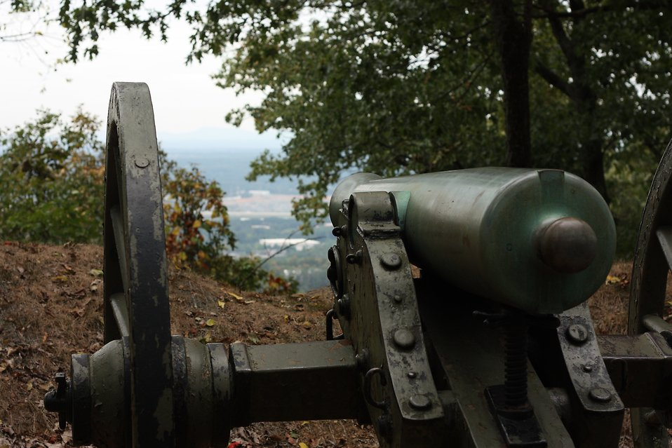 Close-up of a Civil War era cannon in the woods : Free Stock Photo