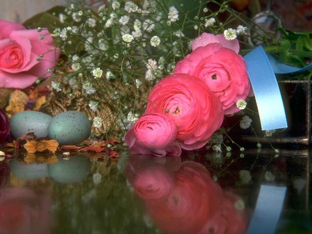 A bouquet of flowers with pink roses : Free Stock Photo
