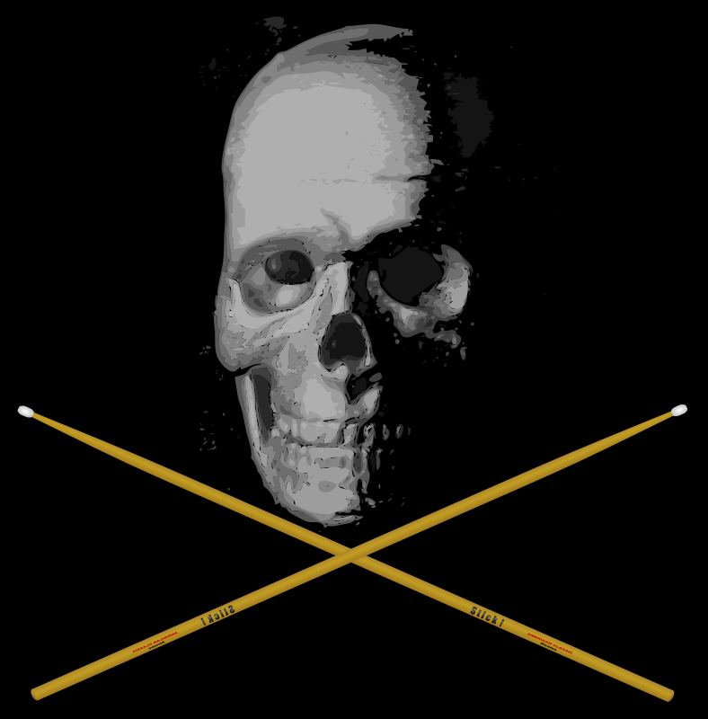 Illustration of a skull and crossed drumsticks : Free Stock Photo