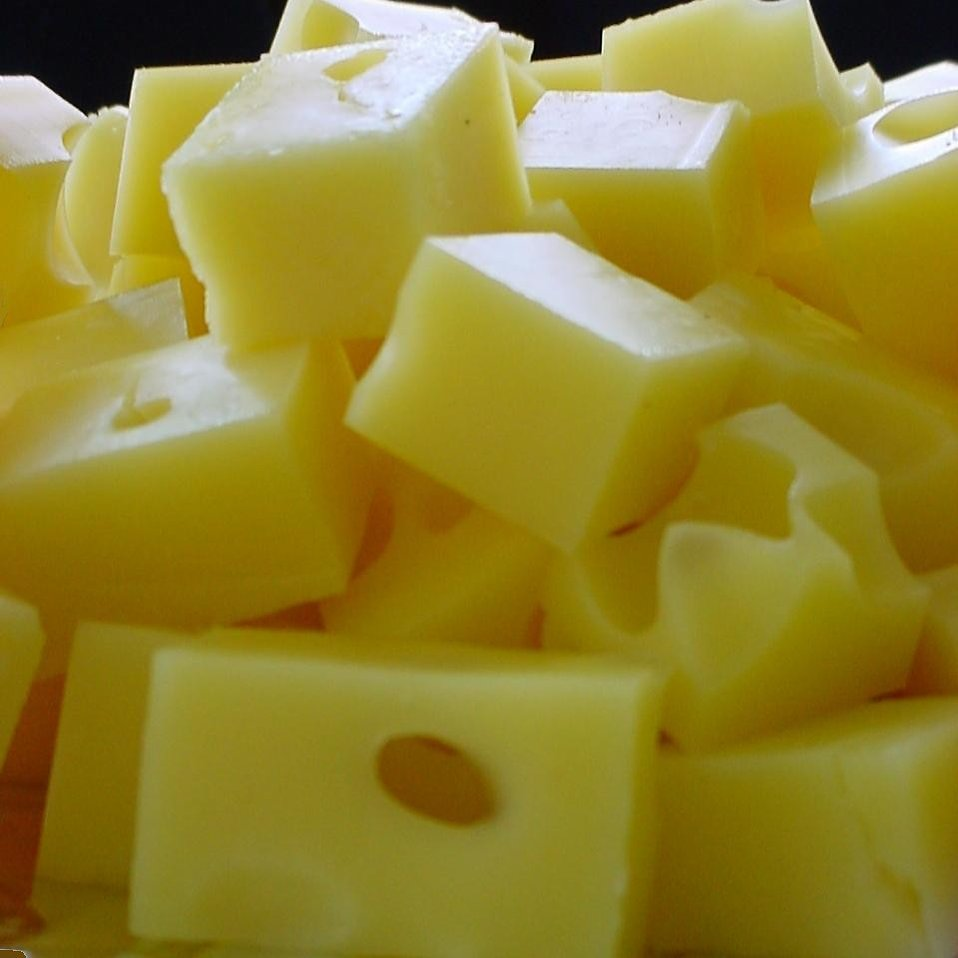 Cubes of Swiss cheese : Free Stock Photo