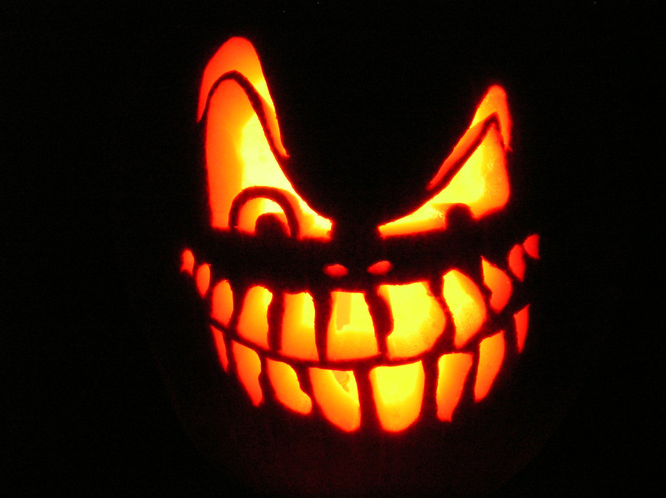 a scary halloween jack o lantern free stock photo