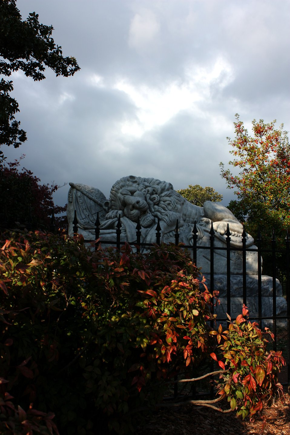The Lion of Atlanta statue at historic Oakland Cemetery in Atlanta, Georgia : Free Stock Photo