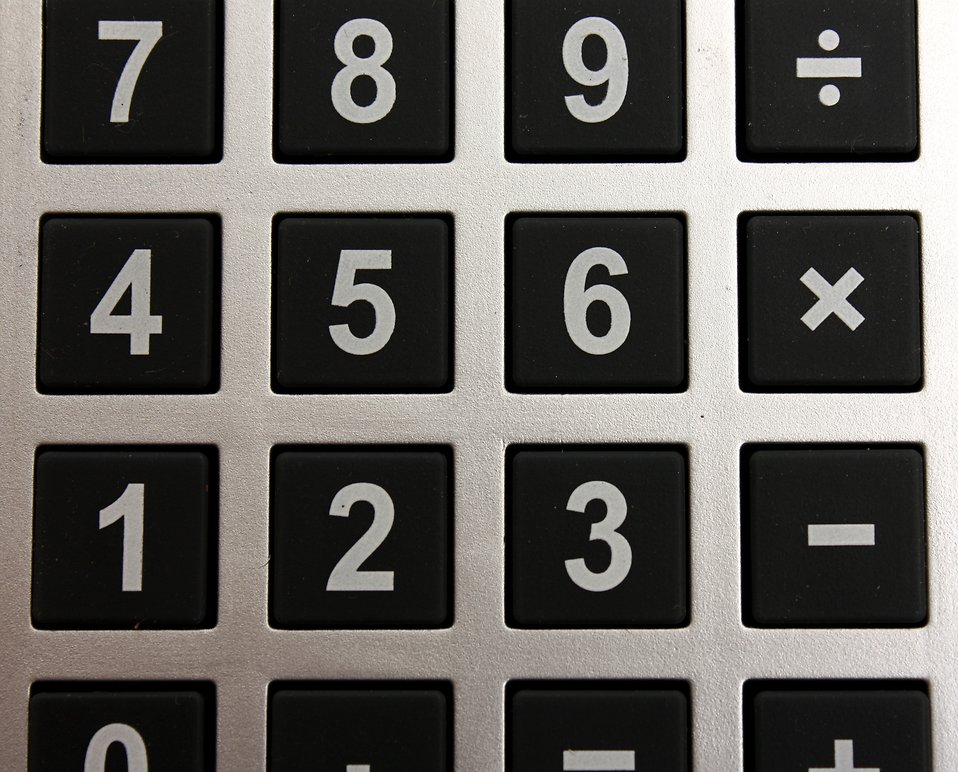 Close-up of buttons on a calculator : Free Stock Photo