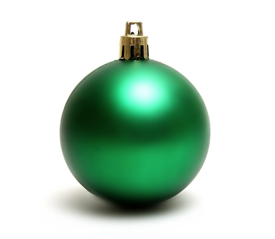 a green christmas ornament isolated on a white background free stock photo - Green Christmas Decorations